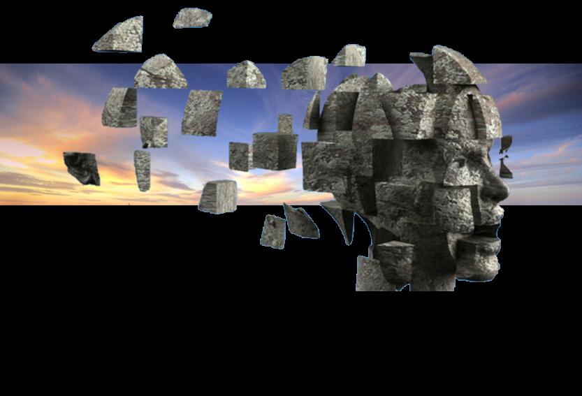 פסל ראש אדם שחלקיו מפוזרים בחלל